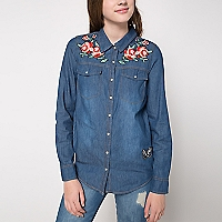 Blusa Denim con Bordado