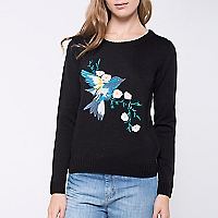 Sweater Liso Bordado Frontal