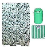 Pesa l�neas Verde + Basurero pl�stico + Cortina mosaico