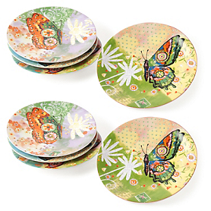 Set 8 Platos Postre Butterfly