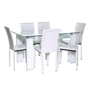 Juego de comedor 6 sillas prisma royal blanco mica for Comedores falabella