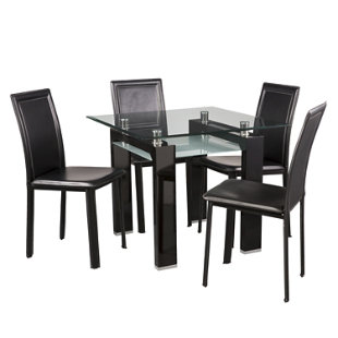 Juego de comedor new prisma 4 sillas negro mica for Juego comedor pequea o
