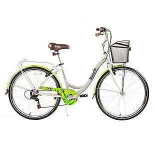 Bicicleta Aro 26 City Lady Plata-Verde