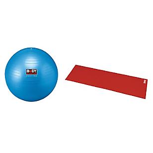 Set de Balón Gym Ball 76 cm + Colchoneta de Yoga Roja