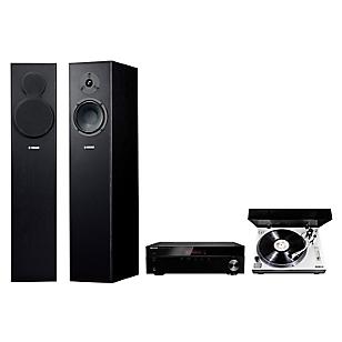 Receiver Stereo 4508 BT + Tornamesa Profesional PM-9805 + Parlantes Pedestal NS-F140