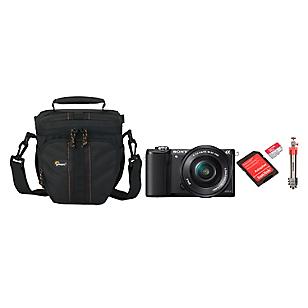 Combo Cámara Reflex ILCE-5000B + Bolso + Micro SD 32GB + Trípode Compact Light Aluminum Rojo