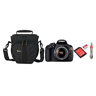 Combo Cámara Reflex T5 + Lente 18-55 + Bolso + Micro SD 32GB + Trípode Compact Light Aluminum Rojo