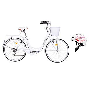 Bicicleta City Rider Blanca + Casco Urbano Blanco