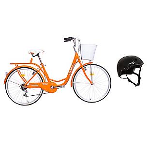 Bicicleta City Rider Naranja + Casco Urbano Negro
