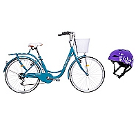 Bicicleta City Rider Turquesa + Casco Urbano Morado
