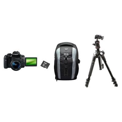 Combo Cámara Reflex T6I 18-55 + Bolso + Micro SD 64GB + Trípode con Cabezal de Bola