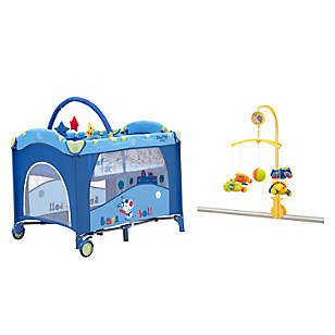 Cuna Pack And Play Azul + Móvil Bebé Zoo