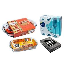 Pack de Asaderas y Lasañera + Cuchillería 24 Piezas W/BOX Krons Luna + Set de Copas Barone