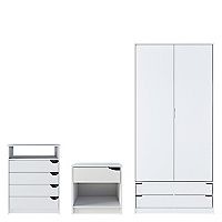 Set Clóset 2 Puertas Wink + Cómoda Blanca 4 Cajones + Velador Blanco