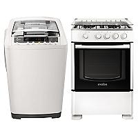 Lavadora Automática 7,5 kg + Cocina 4 Quemadores