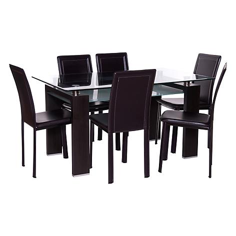 Mica juego de comedor 6 sillas prisma royal caf for Precios de comedores en vidrio
