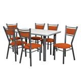 Juego de mesa nevada + 6 sillas