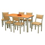 Juego de comedor Mesa Nevada 150 cm + 6 sillas Carmela caoba