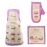Set x 3 cupcakes Delantal + Mantel + agarradera violeta