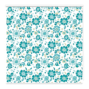 Cortina roller blackout flores 160 x 160 cm