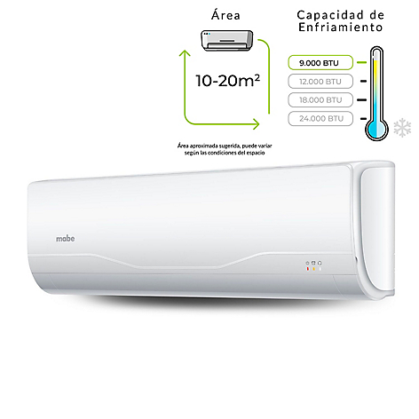 Aire Acondicionado Mabe ON-OFF 9.000 BTU 110V Blanco