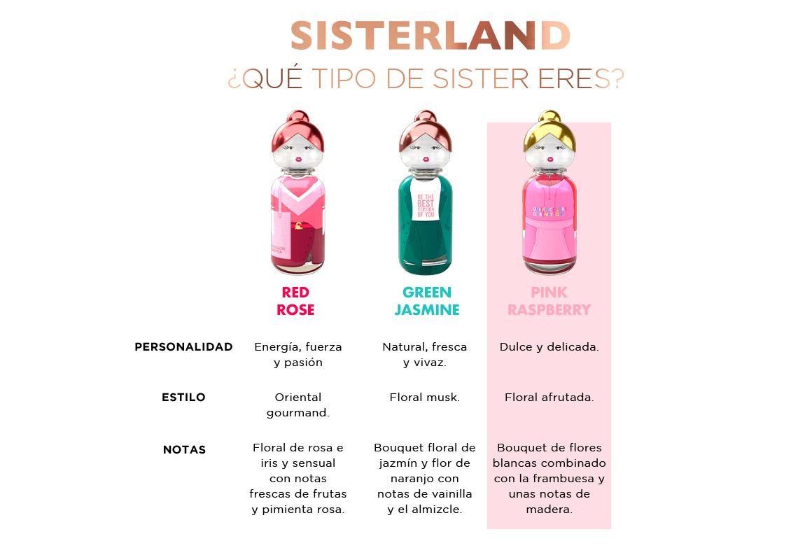 Sisterland, Benetton, Pink Raspberry, dulce, delicado, mujer, colonia, perfume, amistad, diferentes, amigas, friends, nueva colección, woman, women, femenino, fragancia