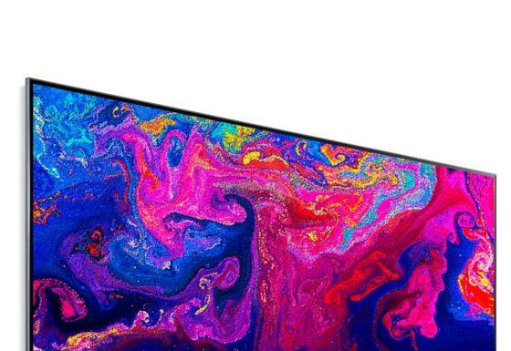 Una pantalla de televisión que muestra partículas de colores brillantes que se arremolinan