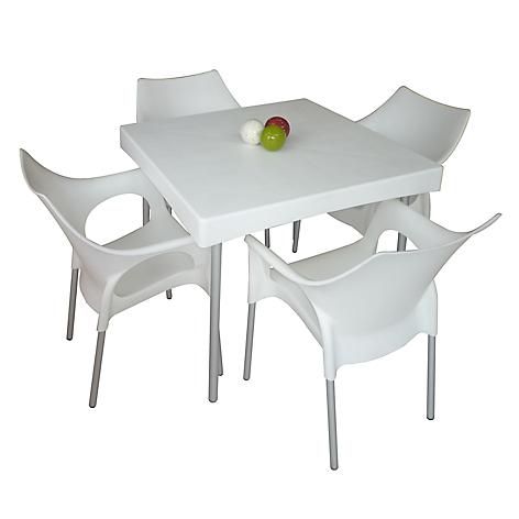 Mica juego de comedor style 4 sillas blanco for Comedor 4 sillas falabella