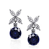 Aretes Chicory Round Sapphire Drops