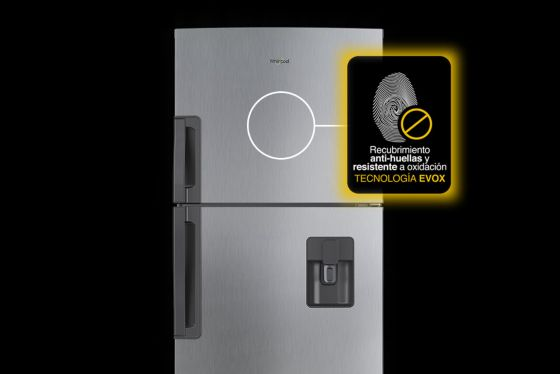 Nevera Whirlpool con Tecnología EVOX Platinum que repele las huellas y resiste mejor las inclemencias del tiempo.