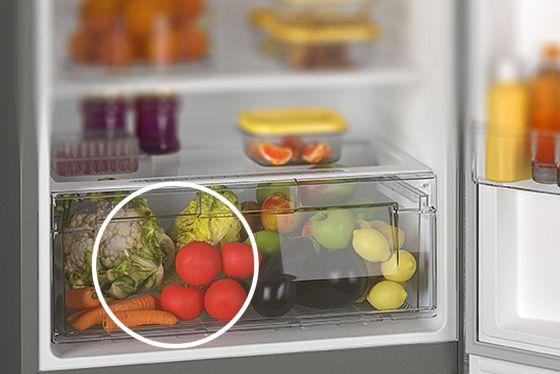 Verduras y legumbres más frescas. Cajón con temperatura adecuada para este tipo de laimentos.