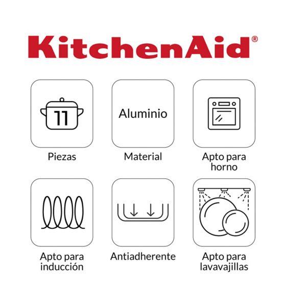 Características de uso de la Batería de Ollas 11 pzs en Aluminio Anodizado de KItchenAid