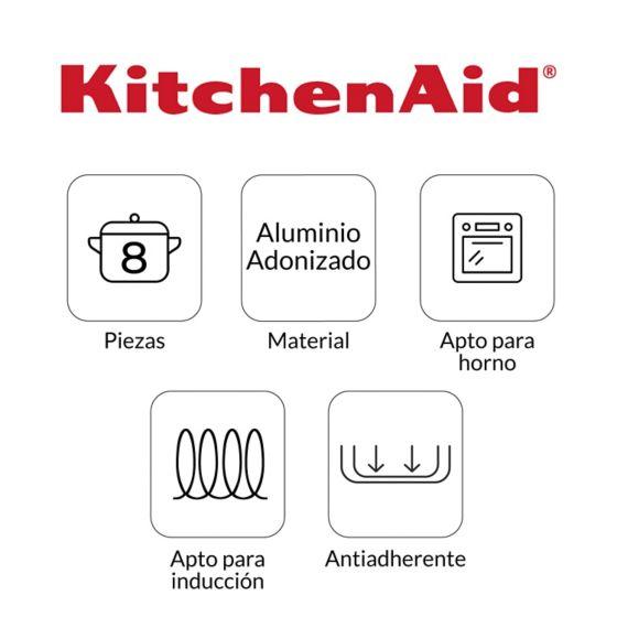 Características de uso de la Batería de Ollas 8 pzs en Aluminio Anodizado de KItchenAid