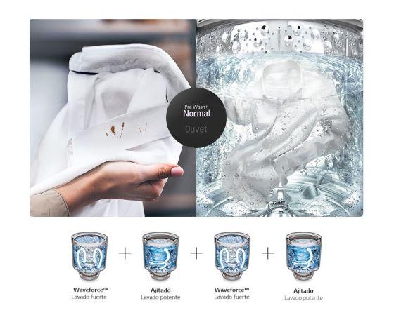 Imagen de una manos mostrando una prenda sucia y al lado el producto ya en uso con la prenda.