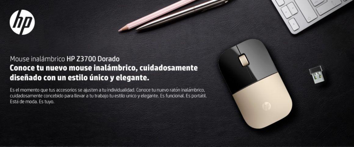 Mouse inalámbrico HP Z3700 Dorado, conoce tu nuevo mouse inalámbrico, cuidadosamente diseñado con un estilo único y elegante.