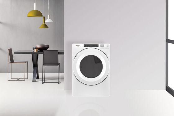 Secadora Whirlpool 18 Kg blanca, elegante y adaptable a todos los espacios.