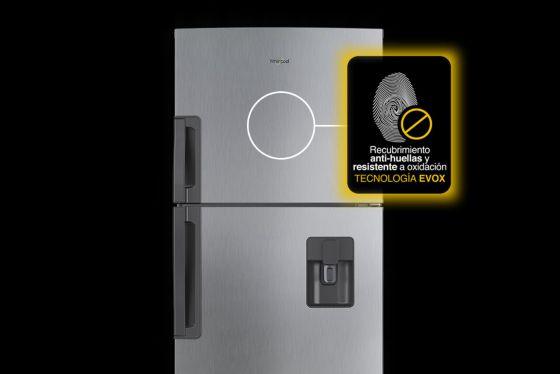 Nevera Whirlpool con Tecnología EVOX Platinum Repele Suciedad y Resiste el paso del tiempo.