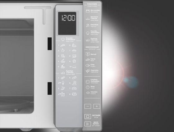 Panel de control con membrana electrónica suave y ergonómica con iluminaión LED.