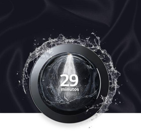 Se observa la tapa del producto con agua y con el tiempo que dura el producto en terminar su lavado 29 minutos.