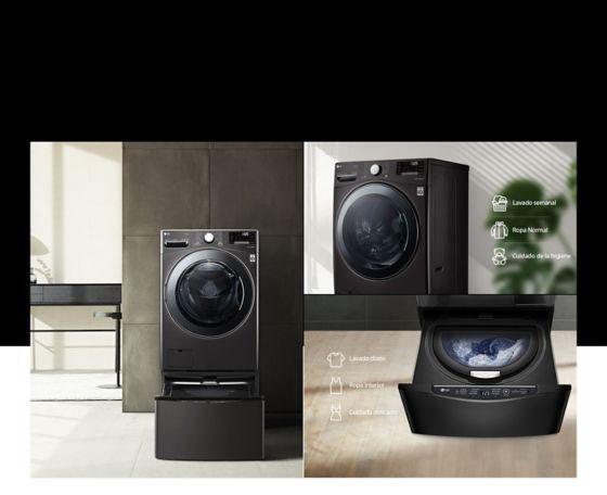 Imagen muestra como también puede incluir TWINWash para poder lavar prendas delicadas.