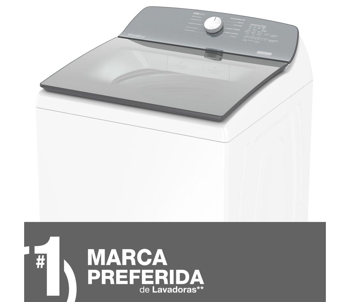 Vista lateral de la lavadora Whirlpool de 22 Kg de color blanco.