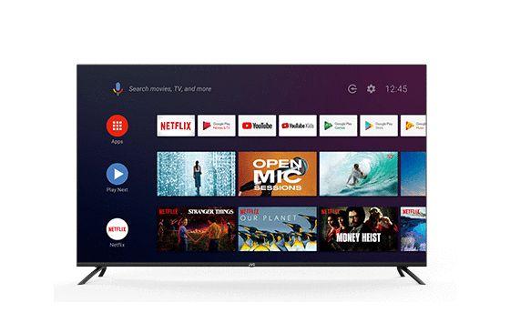 Televisor LED smart tv UHD 4K JVC de pulgadas con Android TV, Netflix, Youtube, Amazon Prime Video.