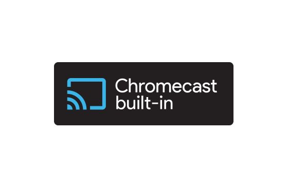 Logo de Chromecast Built-in con el que se puede transmitir contenido desde el celular a la pantalla o al televisor led con Android TV JVC UHD 4K