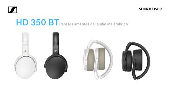Audífonos HD 350 Bluetooth de Sennheiser blancos y negros en fondo blanco