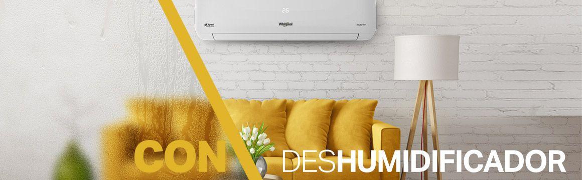 8371145 Minisplit Whirlpool con capacidad de Des-humidificar el ambiente para asegurar un ambiente más confortable.