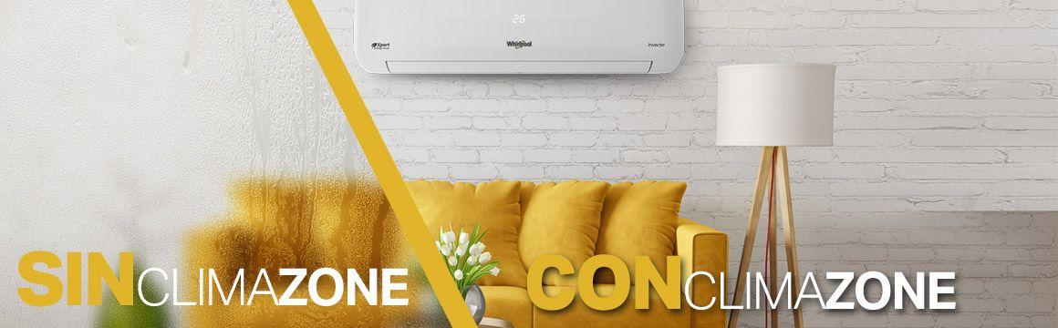 8371146 Minisplit Whirlpool con capacidad de Des-humidificar el ambiente para asegurar un ambiente más confortable. Climazone