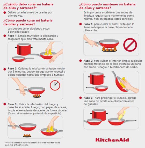 caración de ollas nuevas e instrucciones de lavado Batería de Ollas de KitchenAid