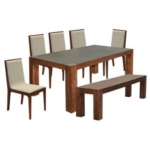 Basement home juego de comedor benito 1 banco 5 sillas for Comedor falabella