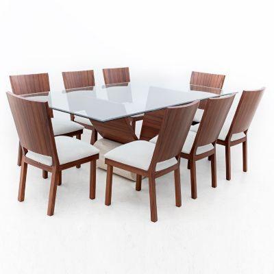 Juegos de comedor modernos con base de madera y vidrio for Juego de comedor de vidrio precios