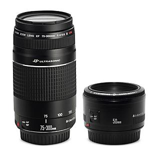 Lente  EF 75-300mm f/4-5.6 III +  Lente EF 50mm f/ 1.8 II